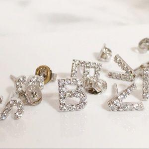 Sterling Silver 925 Letter Earring A C G J K M O X